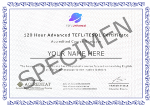 120 Hour Certificate Specimen