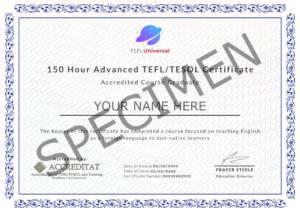 150 Hour Certificate Specimen